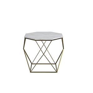 Kristie Volakas Marble And Dark Bronze End Table