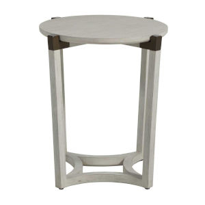Mills Sesame White and Aged Brass 23-Inch Side Table
