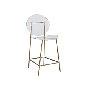 Sandy Clear Acrylic And Antique Gold Counter Stool