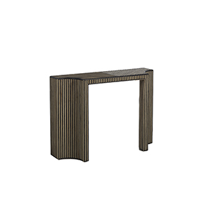 Trent Dark Gray Rattan And Whitewashed Natural Rattan Console Table