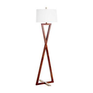 Thompson Walnut and Antique Brass One-Light Floor Lamp