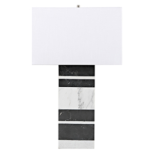 Morris White Marble And Black Marble One-Light Table Lamp