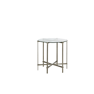Clarissa Tempered Glass And Textured Champagne End Table