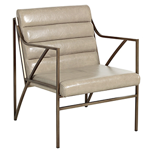 Ruby Gray Leather And Light Bronze Metal Chair