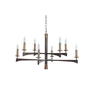 Ramsay Antique Brass And Rubbed Bronze Eight-Light Chandelier