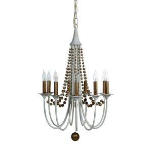 Elaine Champagne Silver and Matte White Nine-Light Chandelier