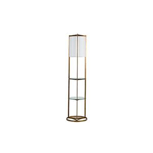 Roma Antique Gold Leaf Linen One-Light Floor Lamp