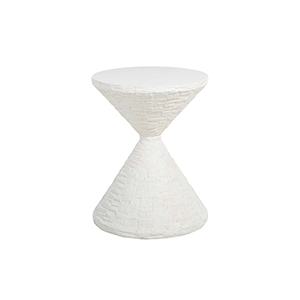 Lindy White Cast Stone End Table
