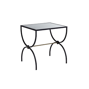 Marion Brushed Brass And Black Marble End Table