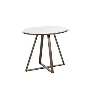 Rylan Brushed Copper And White Marble End Table