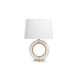 Janelle Antique Brass And Linen One-Light Table Lamp