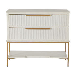 Riggs Sesame White and Stain Gold Nightstand