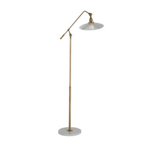 Raphael Matte Brass and Matte White Floor Lamp