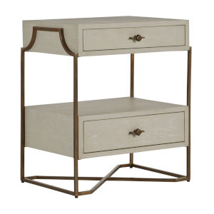 Soma Cerused White and Stained Brass Nightstand