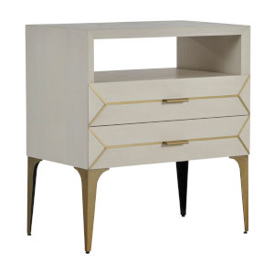 Whitley Stained Brass and Cerused White Nightstand