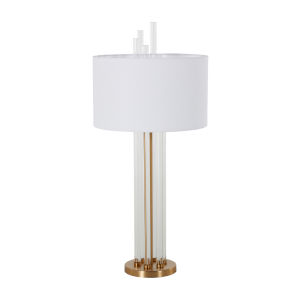 Merna Antique Brass and White One-Light Table Lamp