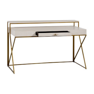Ember Cerused White and Antique Brass Desk