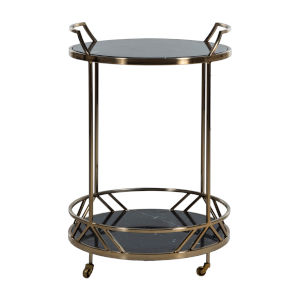 Randall Black and Brushed Gold 27-Inch Bar Cart
