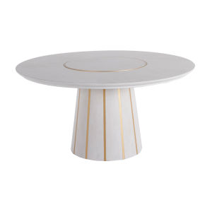 Morgan Cerused White and Gold 60-Inch Dining Table