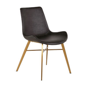 Hines Charcoal Brown and Gold Dining Chair