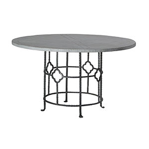 King Antique White Wash and Black Iron 54-Inch Dining Table