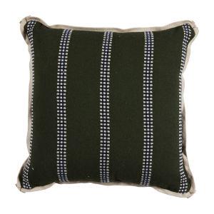 Gingham Stripe Mallard 17 x 17 Inch Pillow with Flat Welt