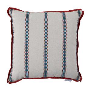 Gingham Stripe Cajun 17 x 17 Inch Pillow with Flat Welt