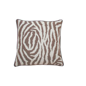 Zebra 20-Inch Almond Throw Pillow