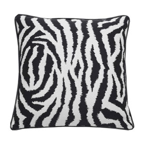 Zebra 20-Inch Midnight Throw Pillow