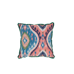 Manado Ikat 20-Inch Flamingo and Emerald Throw Pillow