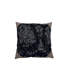 Osaka Toile 20-Inch Midnight and Gray Throw Pillow