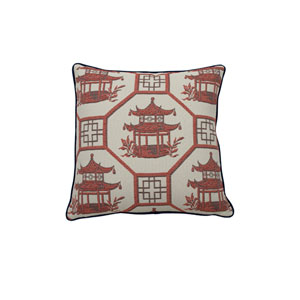 Pagoda Scene 20-Inch Cajun Throw Pillow