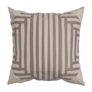 Kubu Taupe and Dove 20 x 20 Inch Pillow with Corner Cap