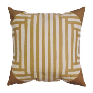 Kubu Mustard and Snow 20 x 20 Inch Pillow with Corner Cap