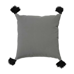 Pewter Velvet and Black 20 x 20 Inch Pillow with Tassel
