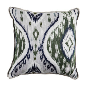 Manado Ikat Pewter and Dove 20 x 20 Inch Pillow with Flat Welt