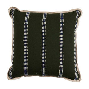 Gingham Stripe Mallard 20 x 20 Inch Pillow with Flat Welt