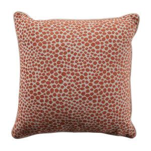 Cheetah Terra Cotta Velvet 20 x 20 Inch Pillow with Linen Welt