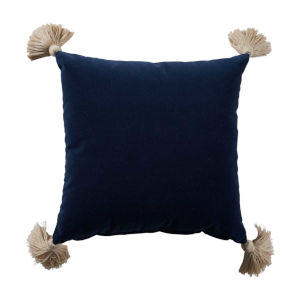 Navy Velvet and Almond 20 x 20 Inch Pillow With Tassel