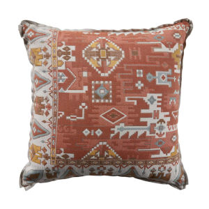 Oushak Terra Cotta and Dove 20 x 20 Inch Pillow with Linen Flat Welt