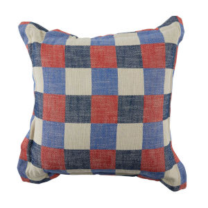 Plaid Cajun and Indigo 20 x 20 Inch Pillow with Pinstripe Double Flange
