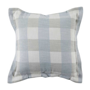Plaid Chambray 20 x 20 Inch Pillow with Pinstripe Double Flange
