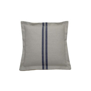Vintage Stripe 22-Inch Gray and Indigo Throw Pillow