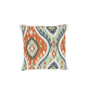 Manado Ikat 22-Inch Cajun and Mist Throw Pillow