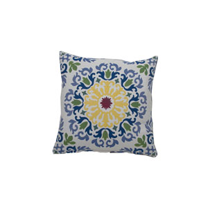 Molto Medallion 22-Inch Mustard and Indigo Throw Pillow
