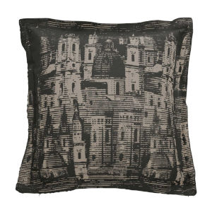 City Skyline Dove 22 x 22 Inch Pillow with Linen Double Flange
