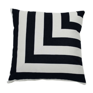 Halo Black and Dove 22 x 22 Inch L-Stripe Pillow with Knife Edge