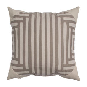 Kubu Taupe and Dove 22 x 22 Inch Pillow with Corner Cap