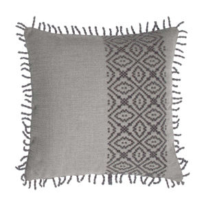 Tribal Stripe Pewter 22 x 22 Inch Pillow with Rope Loop Trim