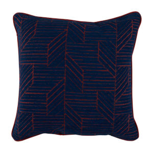 Thisbee Indigo 22 x 22 Inch Pillow with Linen Welt